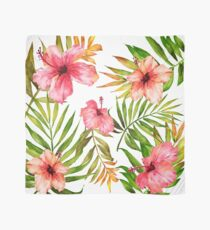 Hawaiian Tropical Floral Aloha Watercolor Scarf