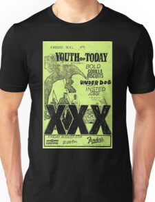 youth of today bold gorilla biscuits underdog insted judge chain of strength hardcore punk show flyer Unisex T-Shirt