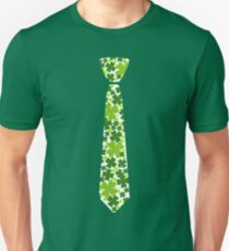 Patrick's Day Funny Necktie Irish Clover Tie Outfit T-Shirt