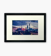 Coloured City Skyline Pt I Framed Print