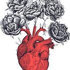 Heart with peonies by Valeriya Korenkova