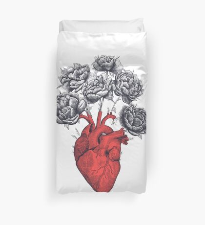 Heart with peonies Duvet Cover