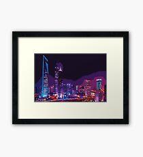 Coloured City Skyline Pt II Framed Print