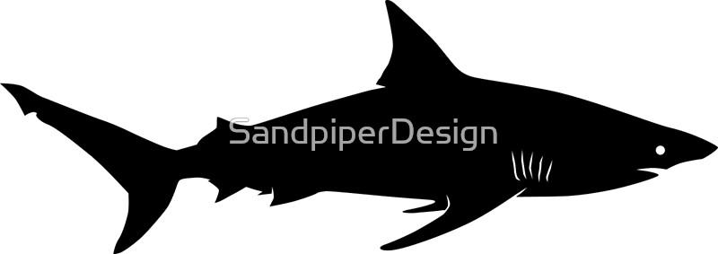Blacktip Shark Silhouette Black Art Prints by iDrawSilhouettes