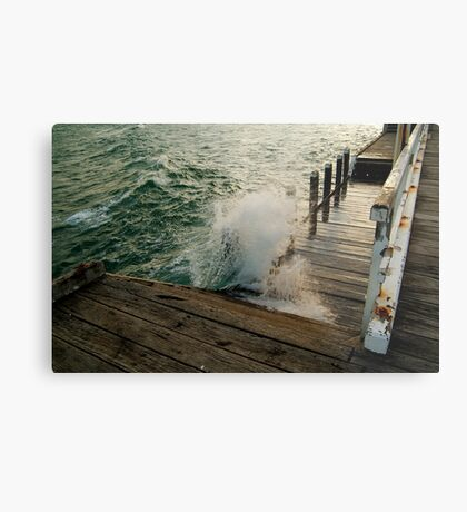 Choppy Seas,Queenscliff Pier Metal Print