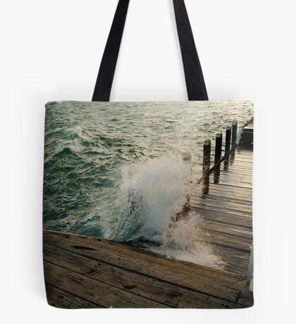 Choppy Seas,Queenscliff Pier Tote Bag