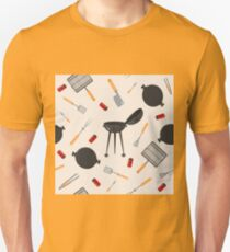 Grill Barbecue Seamless Pattern with Kitchen Tools Unisex T-Shirt