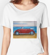 red VW bug with sea Women's Relaxed Fit T-Shirt