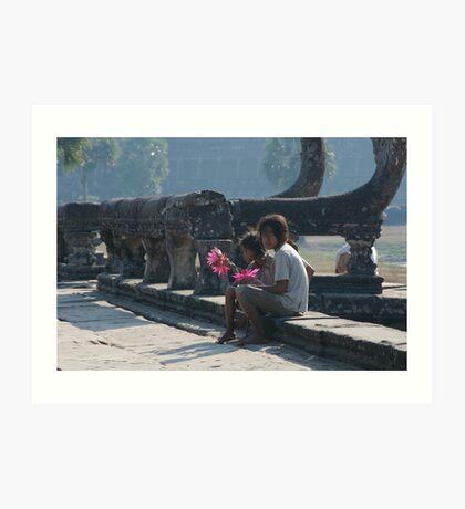 Girls at Angkor Wat temple Art Print