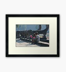 Girls at Angkor Wat temple Framed Print
