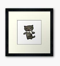 cute black cat cartoon Framed Print