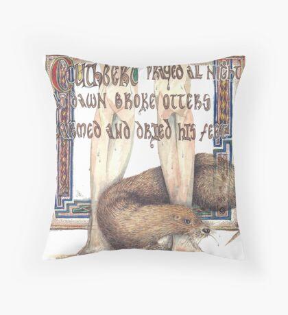 St. Cuthbert and the Otter Throw Pillow