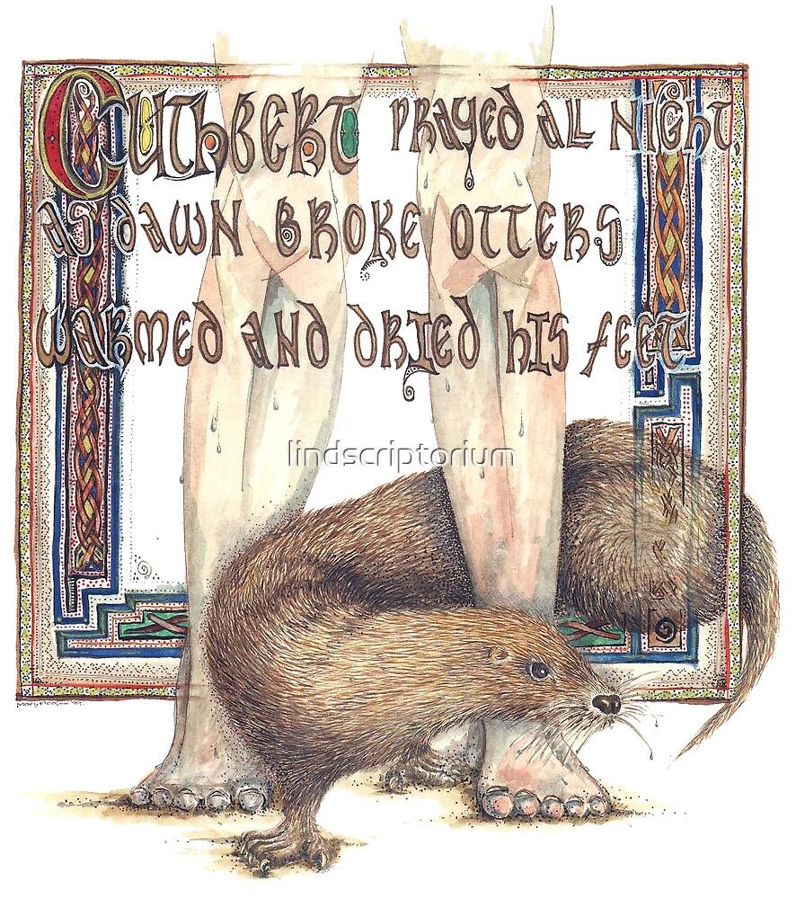 St. Cuthbert and the Otter by lindscriptorium