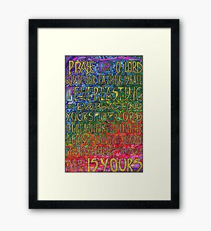 David's Praise Framed Print