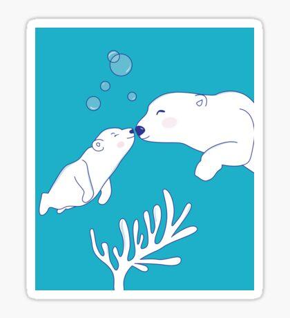 Polar Bears Mom and Son Sticker