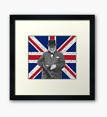 Churchill Posing With A Tommy Gun Framed Print