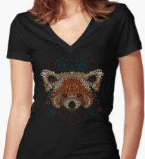 Red Panda Face Women's Fitted V-Neck T-Shirt