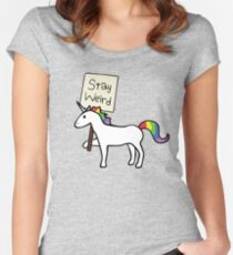 Stay Weird, Unicorn Women's Fitted Scoop T-Shirt