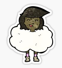 woman with head in clouds cartoon Sticker