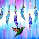 Hummingbird and Feathers by cathyjacobs