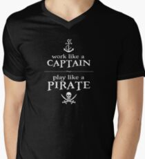 Work Like a Captain, Play Like a Pirate Men's V-Neck T-Shirt