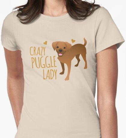 Crazy Puggle Lady (puppy dog) Womens Fitted T-Shirt
