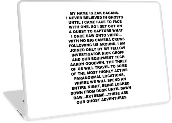 u0026quot my name is zak bagans u0026quot  laptop skins by marinemadelyn
