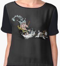 A Jester Boy Pulled by a Pitbull Dog In A Tea Cup - Cool Funny Vintage Illustration Women's Chiffon Top