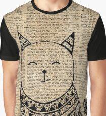 Smiling Cat Pen & Ink Zentagle Dictionary Art Graphic T-Shirt