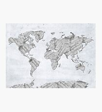 world map music notes 3 Photographic Print