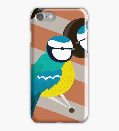 Blue Tits in Nesting Box Illustration iPhone Case/Skin