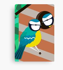 Blue Tits in Nesting Box Illustration Canvas Print
