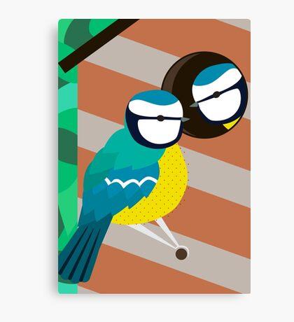 Blue Tits in Nesting Box Illustration Canvas Print