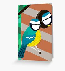 Blue Tits in Nesting Box Illustration Greeting Card