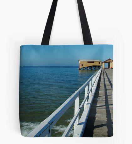 Sunny Day, Queenscliff Pier Tote Bag