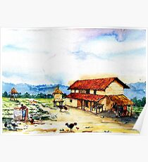 Rural Barn Watercolor Painting Poster