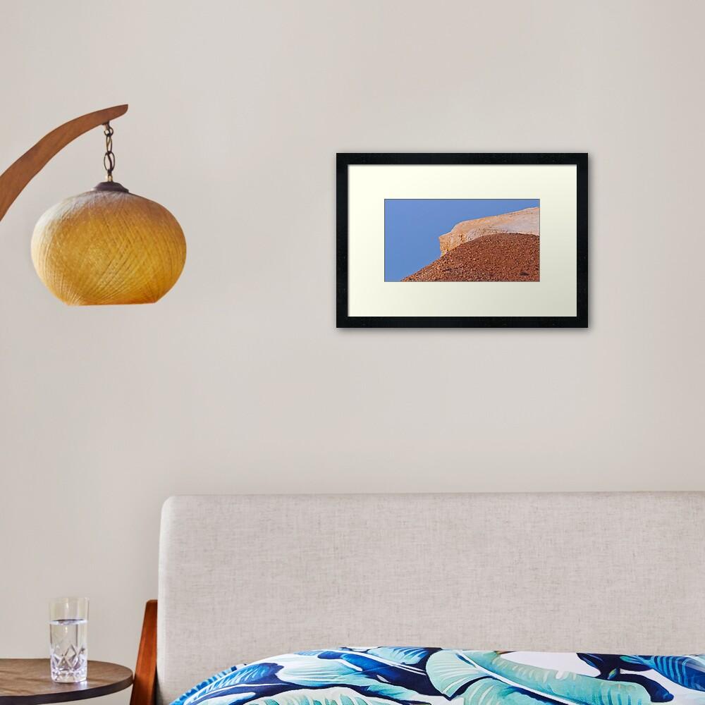 Ochre hills at dusk Framed Art Print