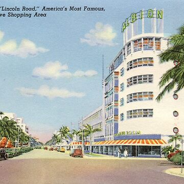 """Lincoln Road,"" America's Most Famous Exclusive Shopping Area, Miami Beach, Florida Vintage Postcard by Framerkat"