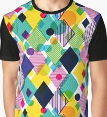 Colourful Geometric Diamond Pattern Graphic T-Shirt