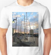 Schooners Docked at Sunset    (1424109466VA) Unisex T-Shirt