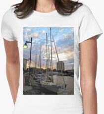 Schooners Docked at Sunset    (1424109466VA) Women's Fitted T-Shirt