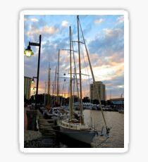 Schooners Docked at Sunset    (1424109466VA) Sticker
