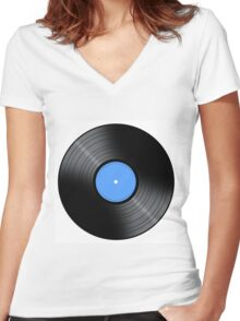 Music Record Women's Fitted V-Neck T-Shirt
