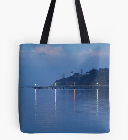 Twin Lighthouses in the Mist,Queenscliff Tote Bag