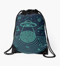 Ufo in dark night.  Drawstring Bag