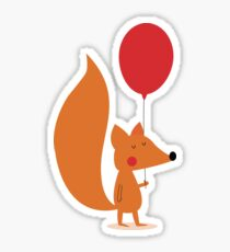 Fox With A Red Balloon Sticker