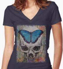 Butterfly Skull Women's Fitted V-Neck T-Shirt