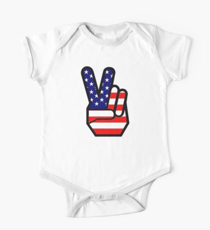 Peace sign HAND American Flag Kids Clothes