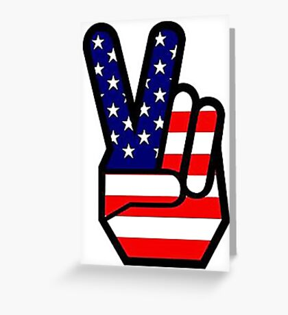 Peace sign HAND American Flag Greeting Card