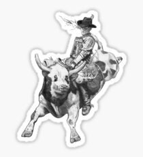 Cowboy Riding A Bull, Rodeo, Pencil Drawing, Eight Seconds Sticker